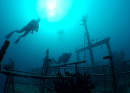 Wreck in scuba diving in New Caledonia
