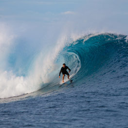 Surfer in Bourail in New Caledonia
