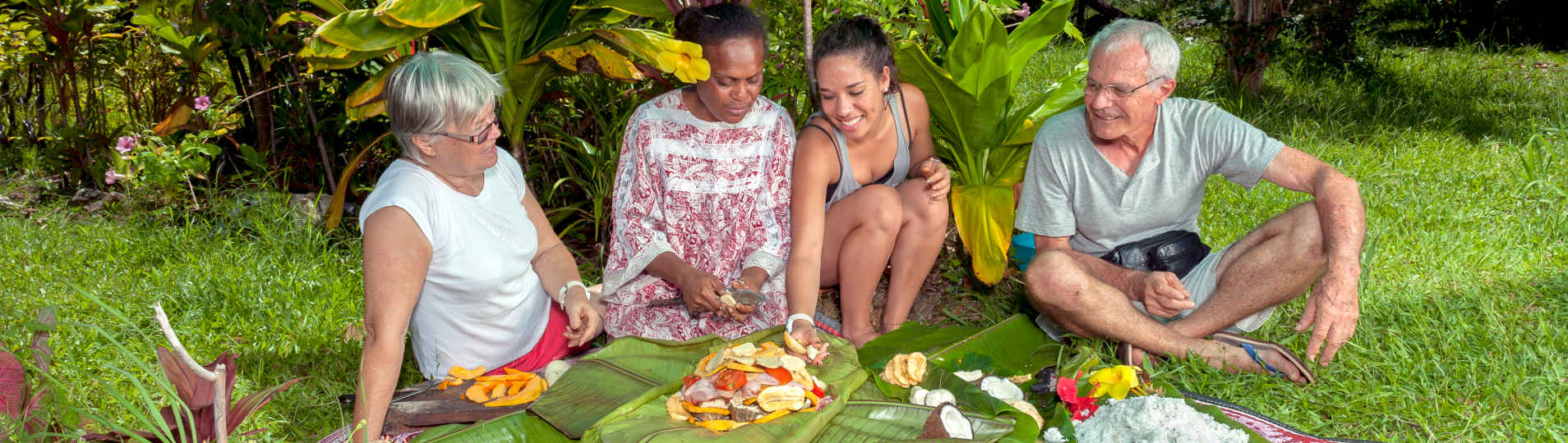 Preparing Kanak Bougnat in tribs New Caledonia